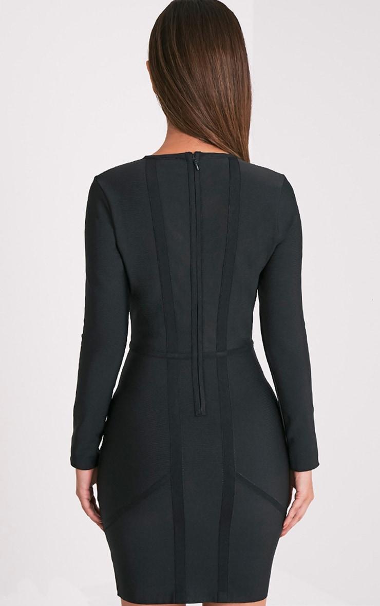 Dakota Premium robe moulante bandage treillis noire 2