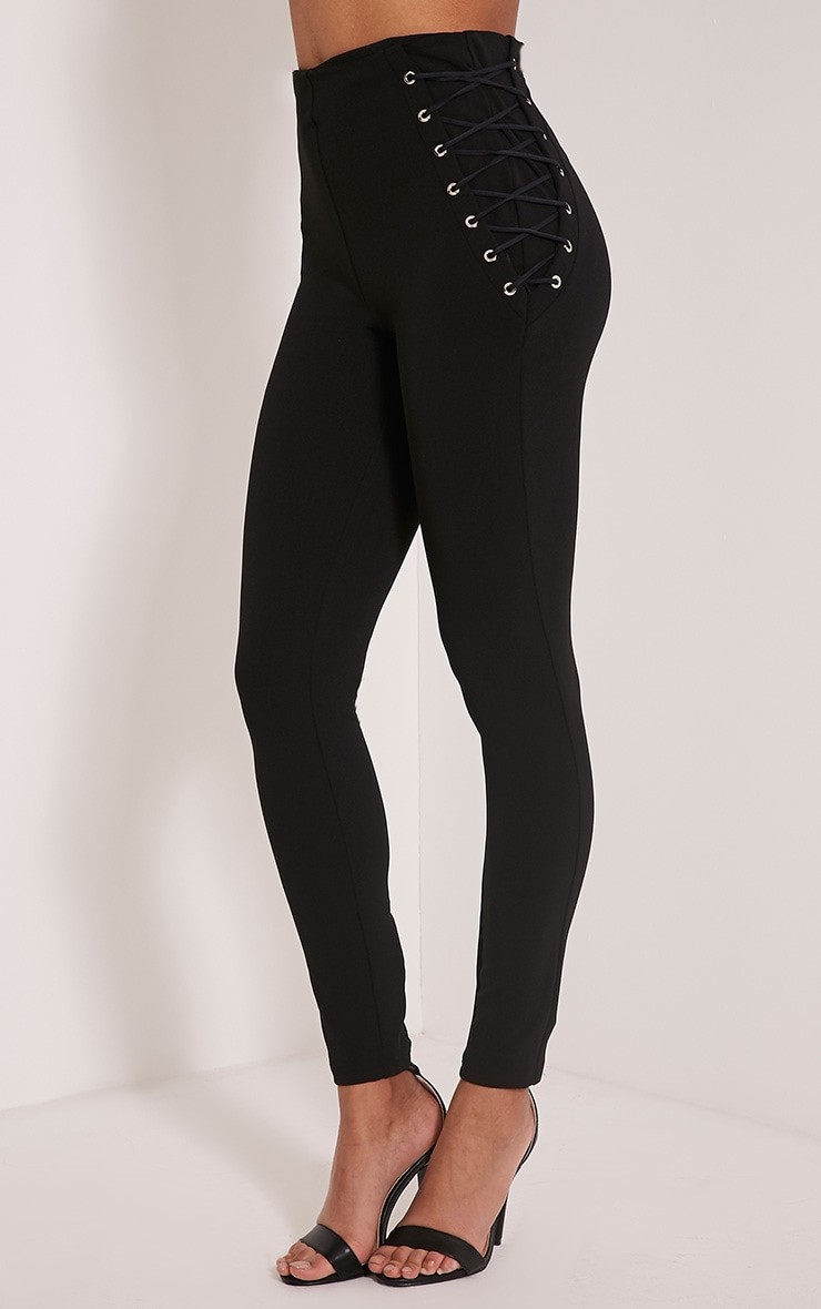 Amia Black Lace Up Pocket Trousers 4