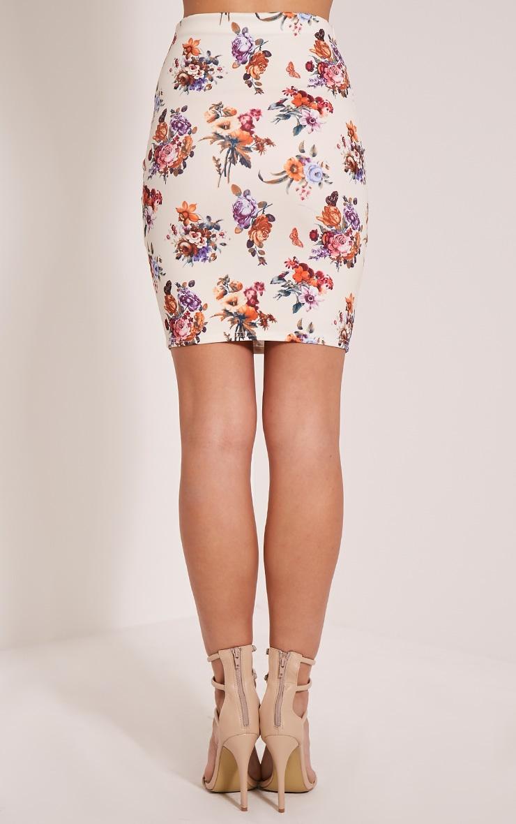 Betty Cream Floral Bodycon Mini Skirt 5