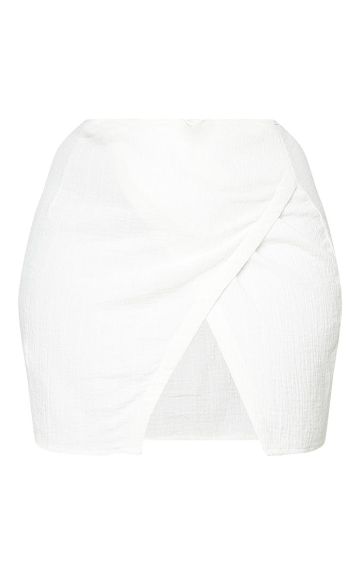 Plus White Waffle Tie Wrap Mini Skirt 6