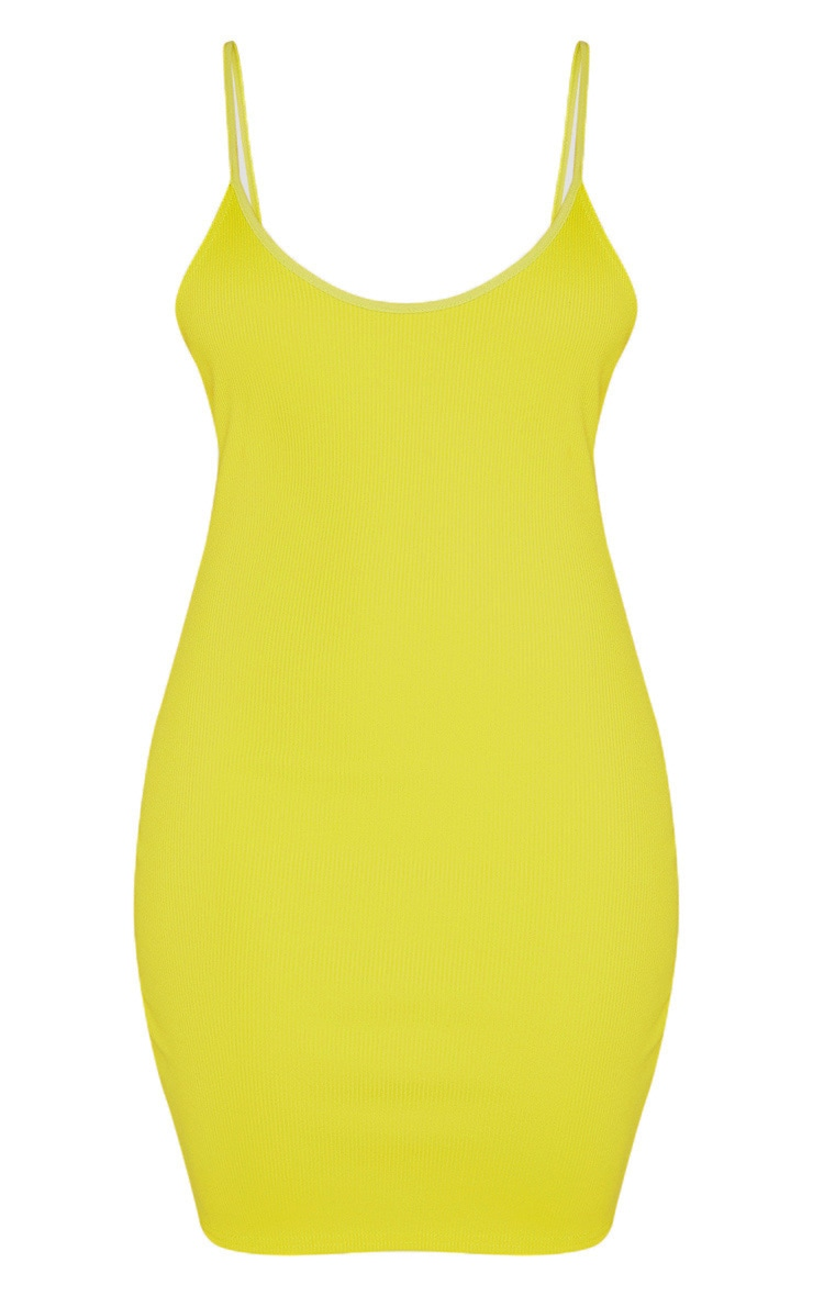 Tall Chartreuse Strappy Bodycon Ribbed Dress 3