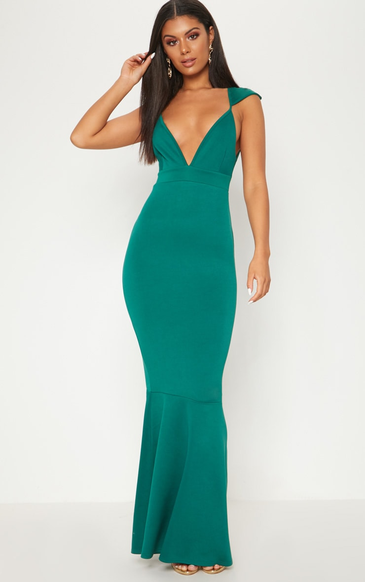 Emerald Green Extreme Plunge Shoulder Detail Fishtail Maxi Dress 1