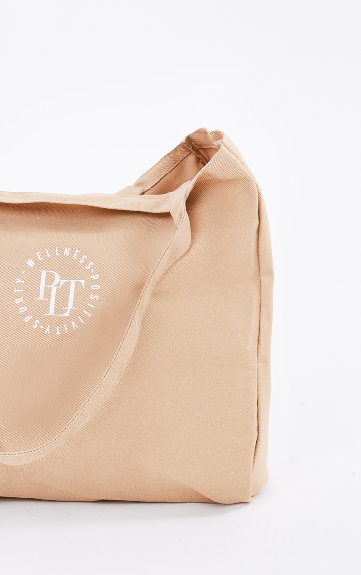 PRETTYLITTLETHING Tan Round Wellness Tote Bag 3
