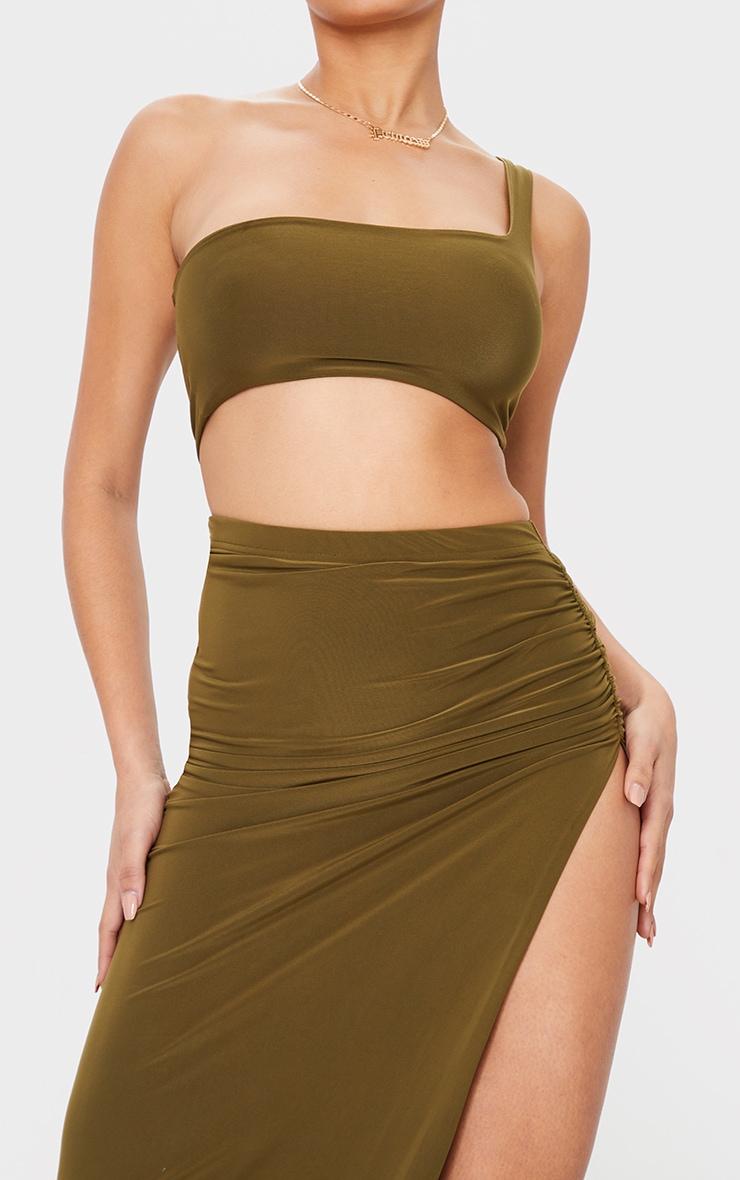 Khaki Slinky Ruched Side Split Split Midaxi Skirt 4