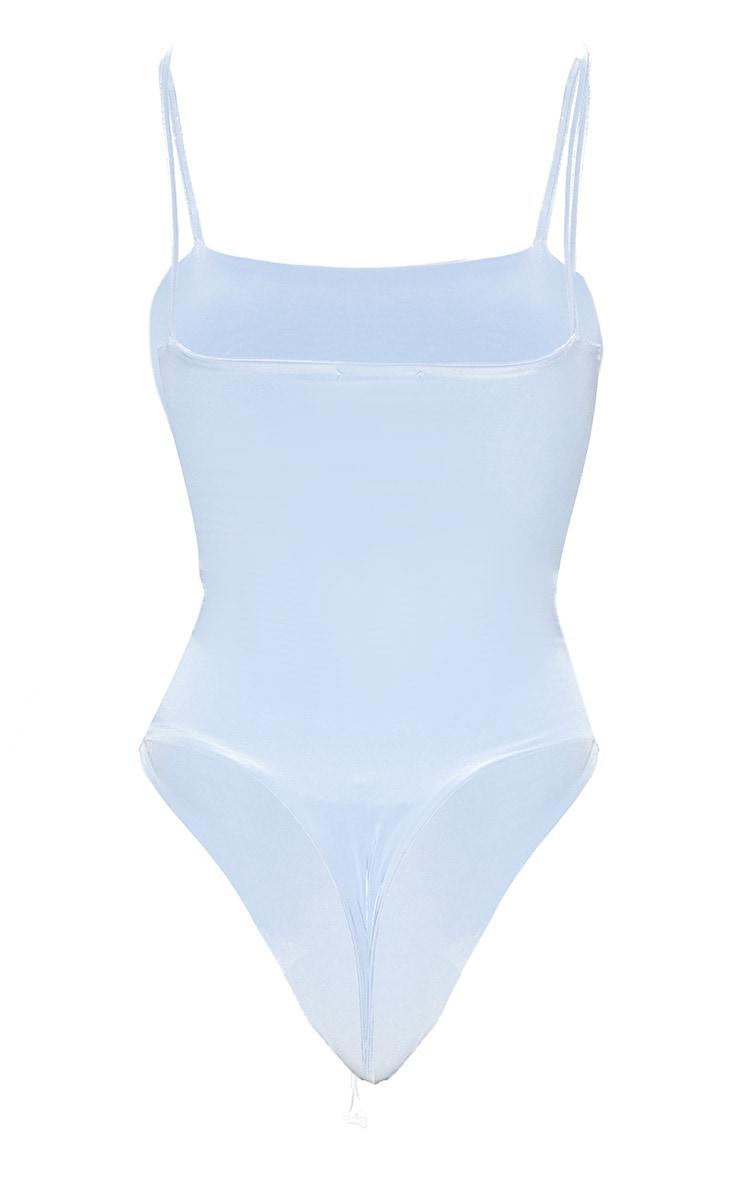 Light Blue Straight Neck Cami Bodysuit 4