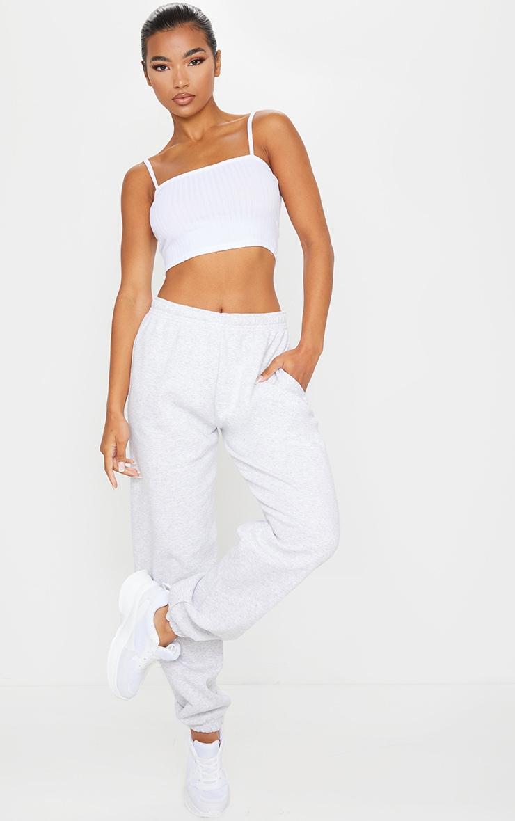 Essential White Cotton Blend Rib Square Neck Strappy Crop Top