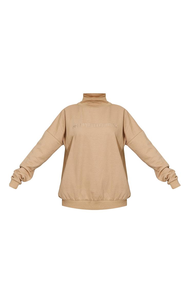 Sand Prettylittlething Embroidered High Neck Oversized Sweatshirt 5