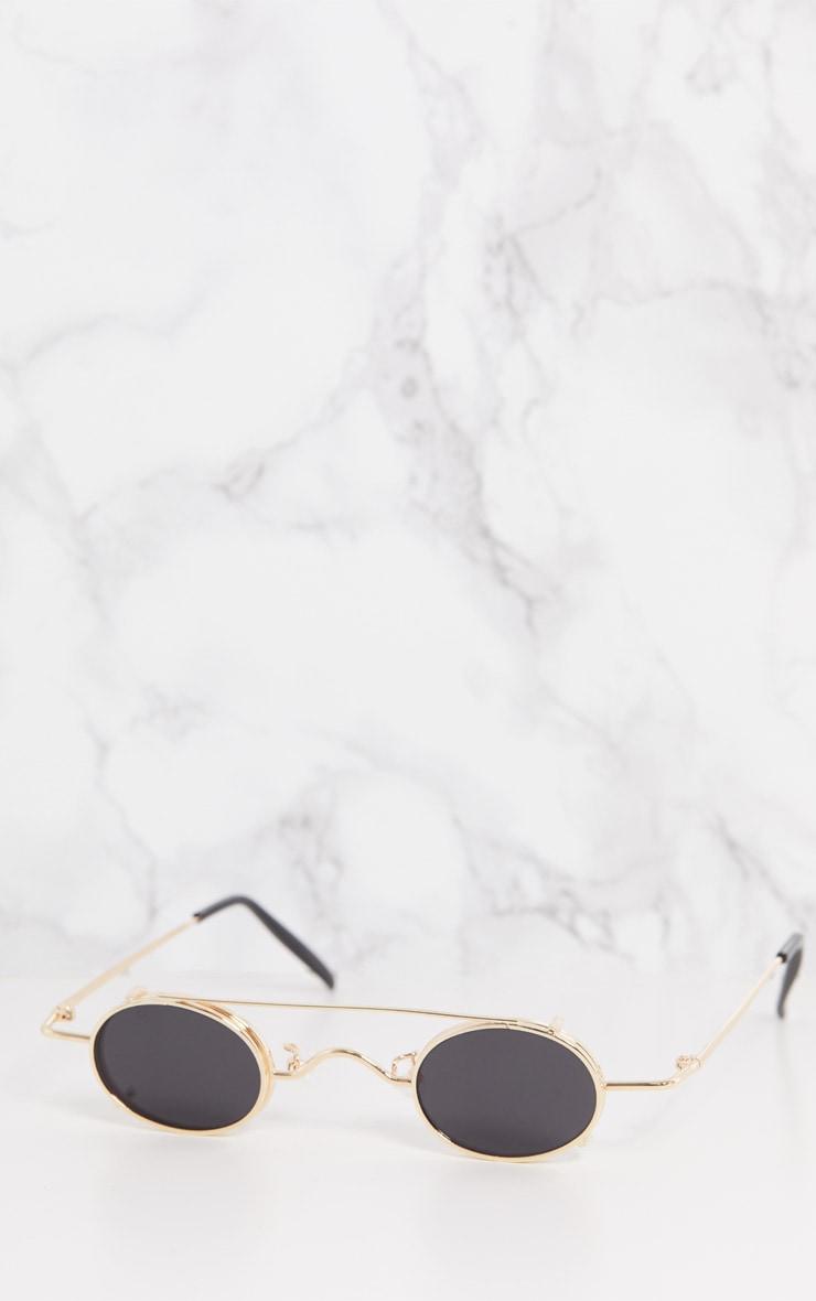 Gold Frame Black Lens Small Oval Flip Sunglasses 7