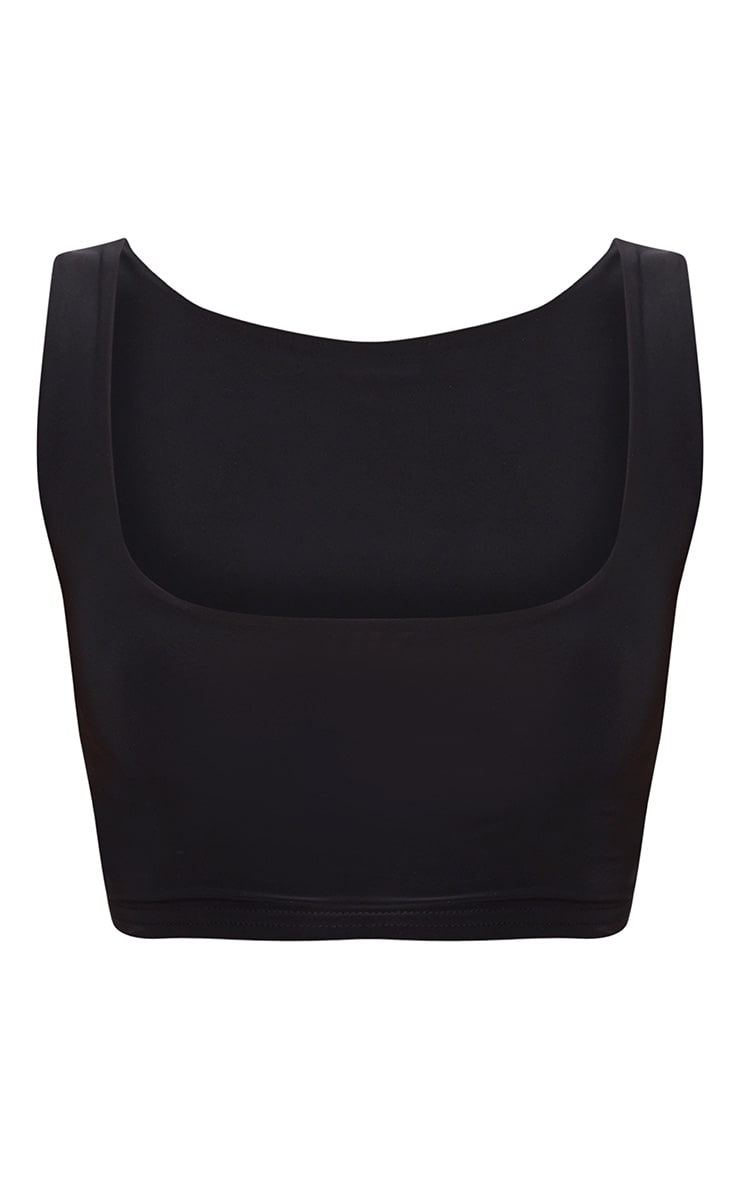 Black Slinky Square Neck Sleeveless Crop Top  4