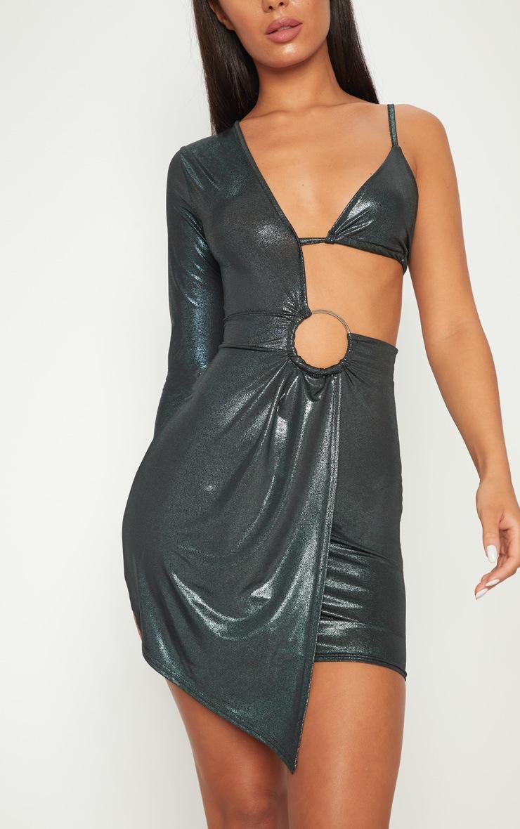 Green Metallic Asymmetric Ring Detail Bodycon Dress 5