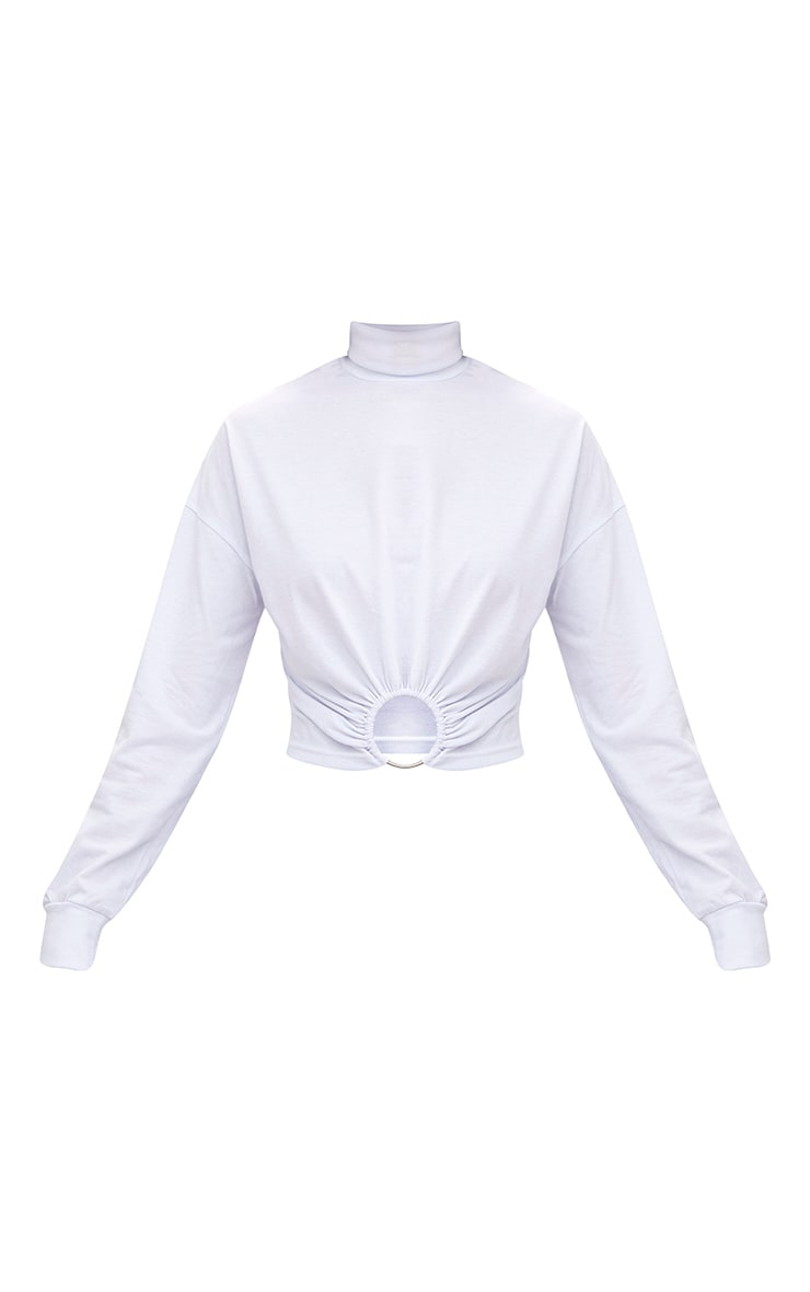 White Ring Detail Roll Neck Sweater 3