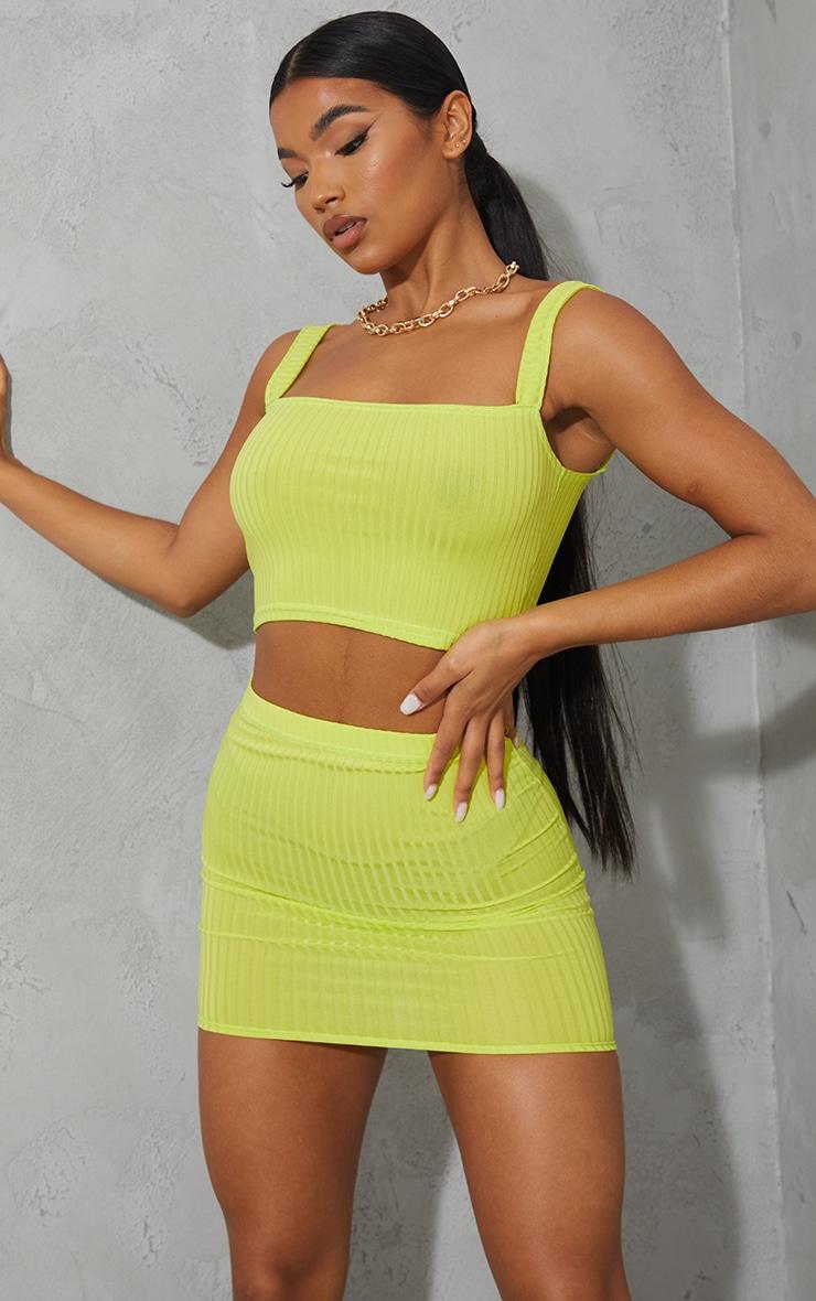 Lime Green Rib Mini Skirt 4