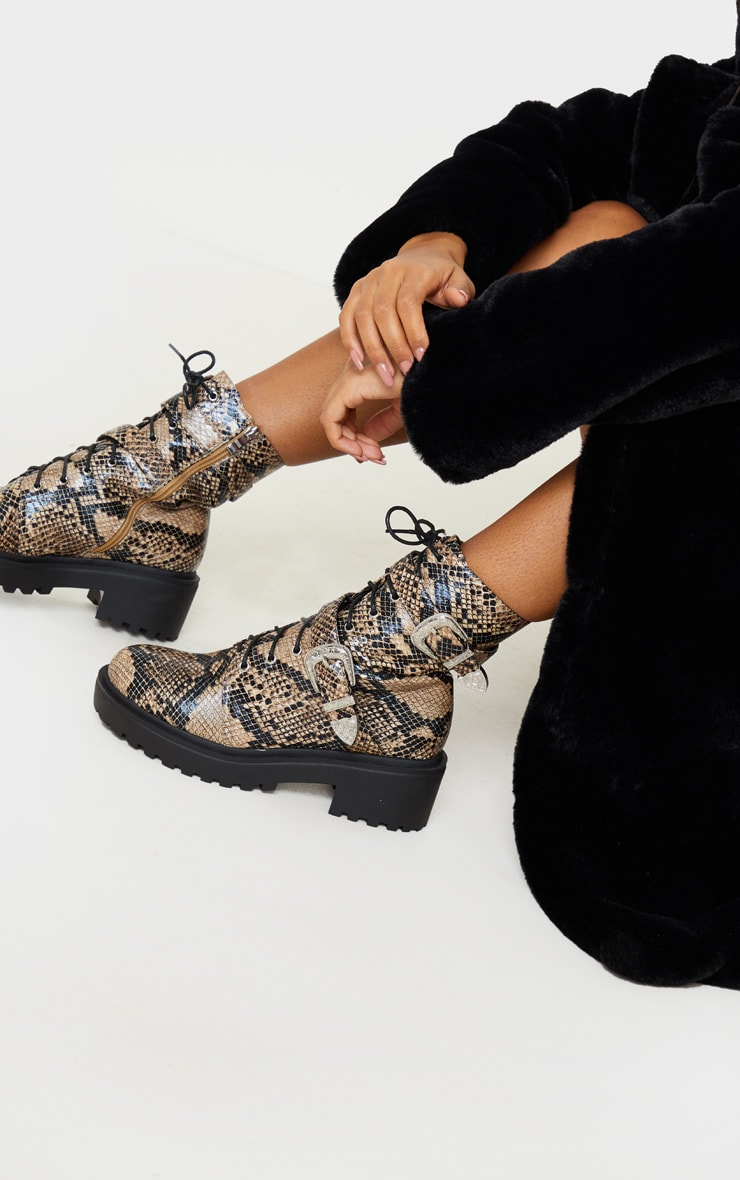 Snake Western Buckle Cleated Ankle Boots 1