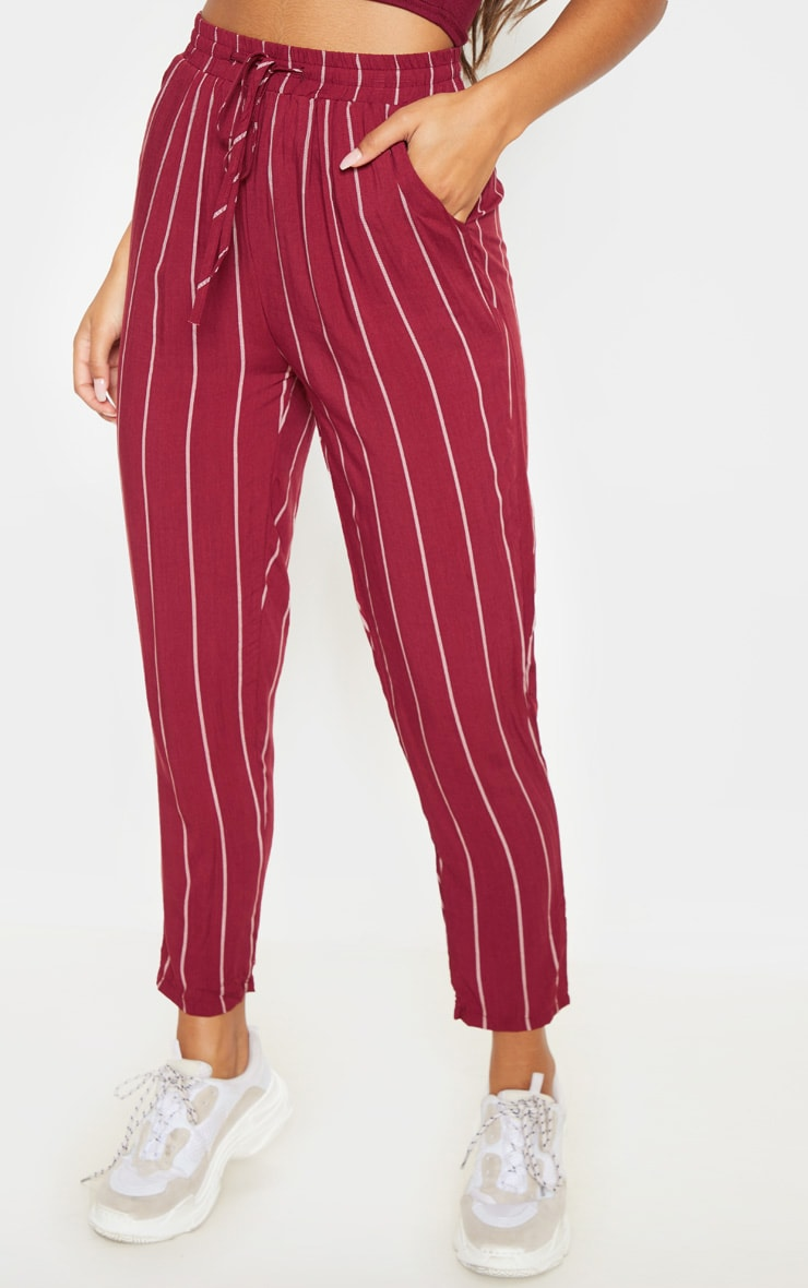 Burgundy Pinstripe Casual Pants 2