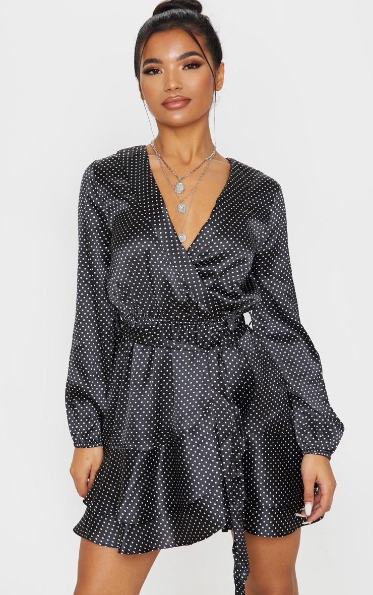Black Polka Dot Satin Frill Hem Tea Dress 1