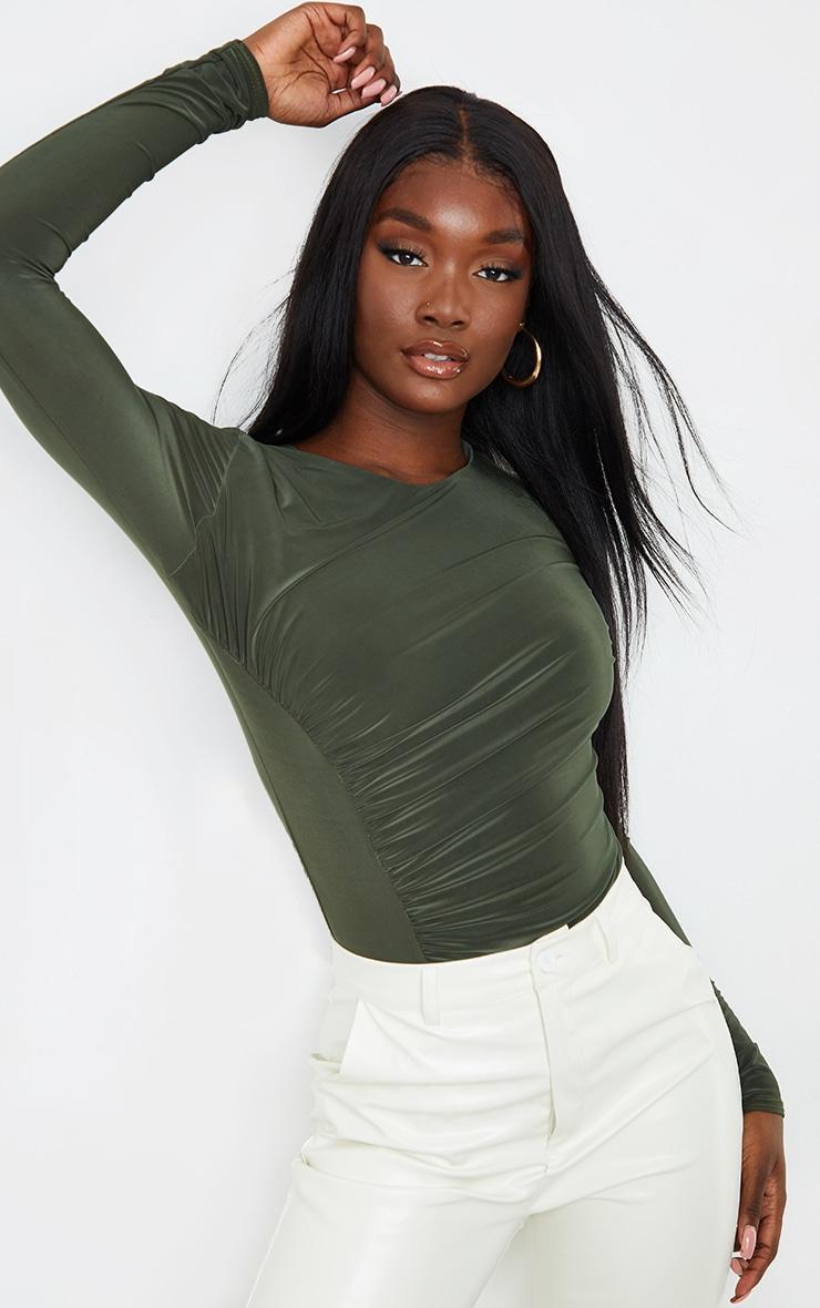 Tall Khaki Ruched Side Slinky Long Sleeve Bodysuit 1