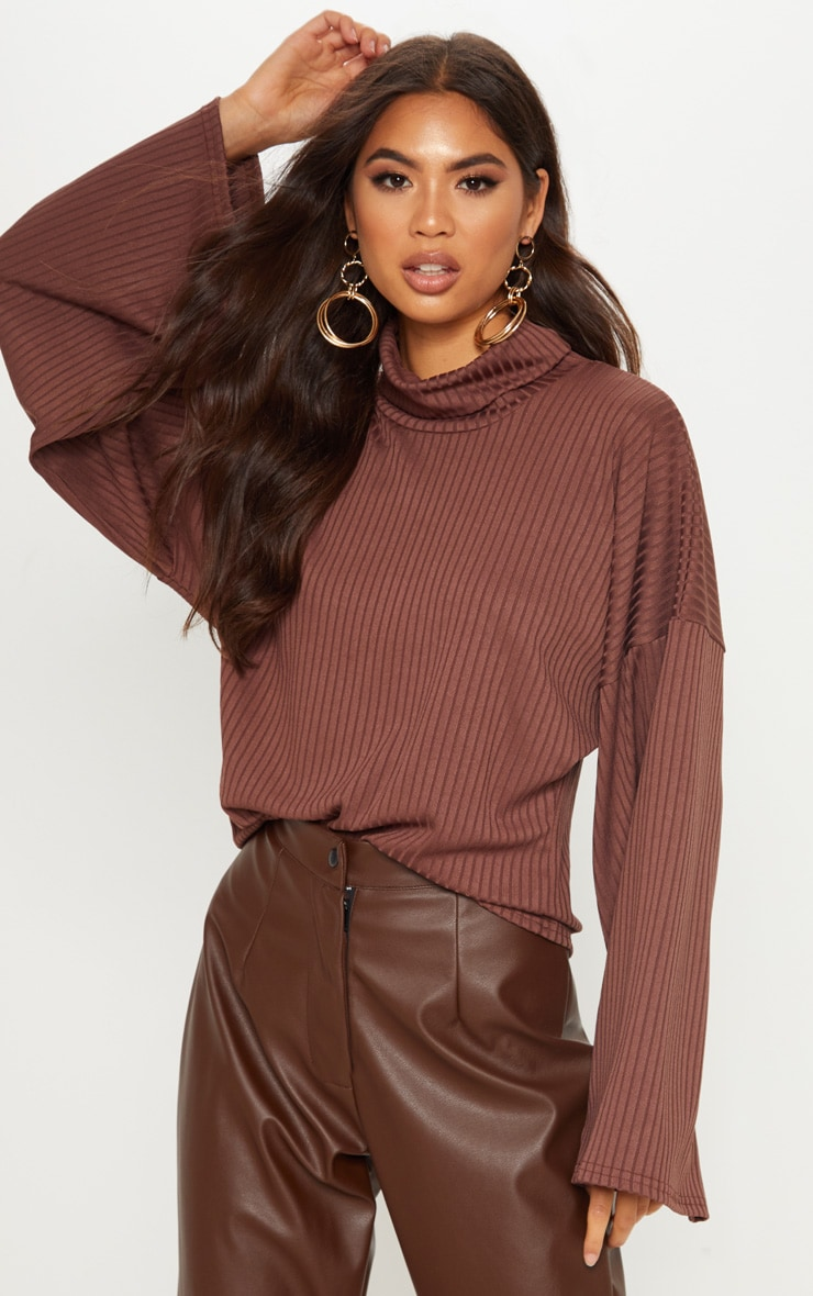 Chocolate Rib High Neck Flare Sleeve Top