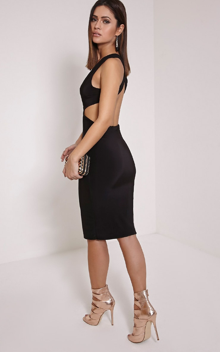 Petite Biddy Black Deep Plunge Midi Dress 4