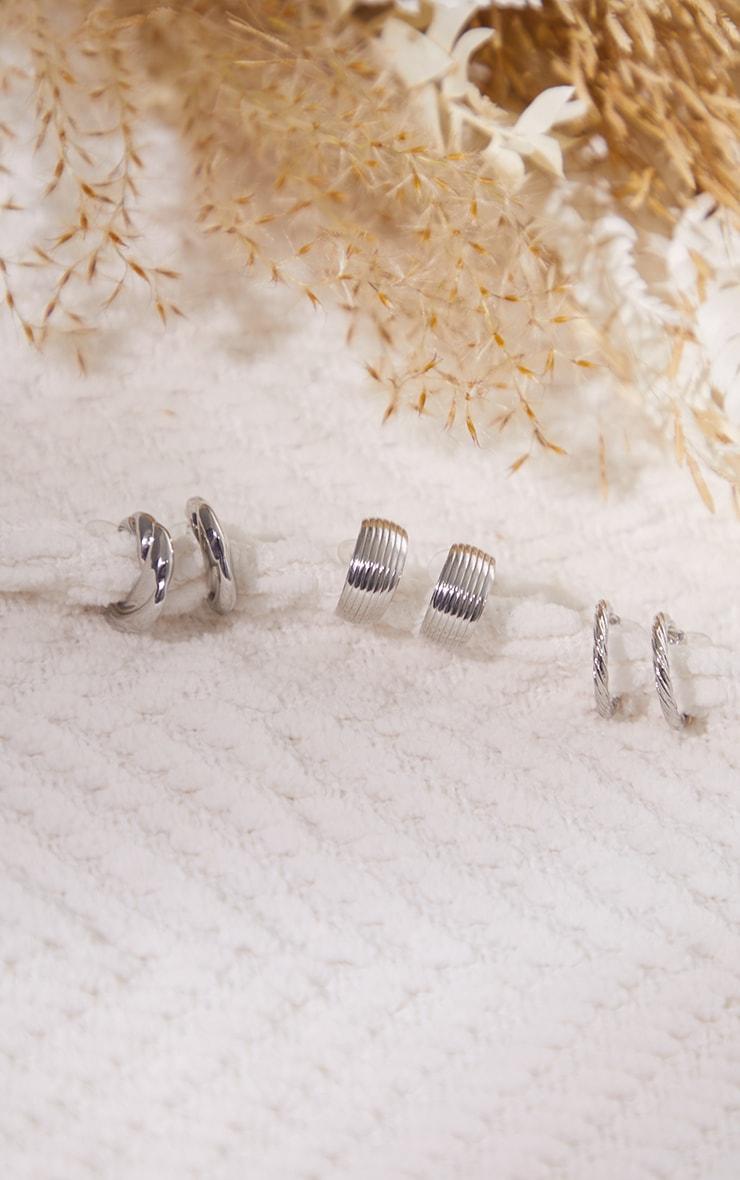 Silver Assorted Ribbed 3 Pack Hoop Earrings 2