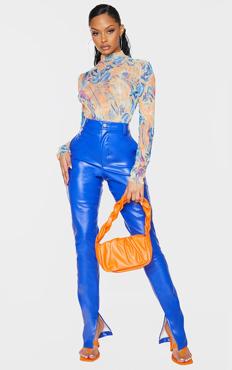 Blue Abstract Print Mesh High Neck Bodysuit 3