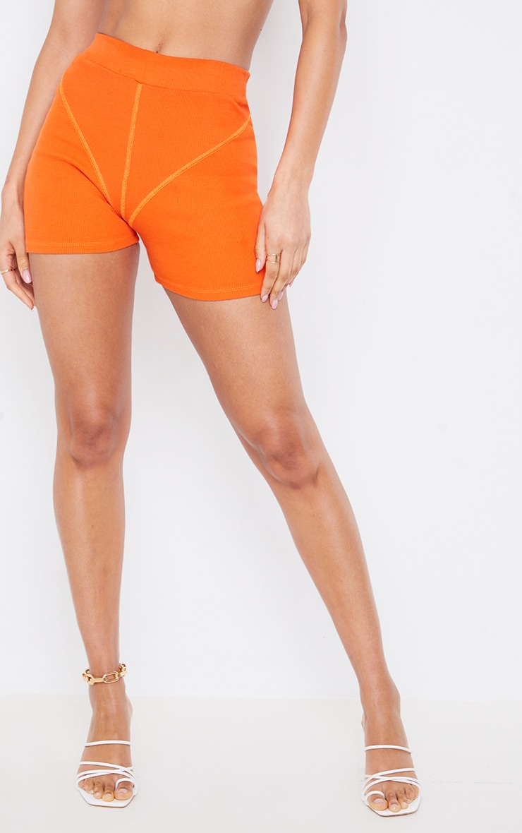 Orange Ribbed Seam Detail Shorts 2