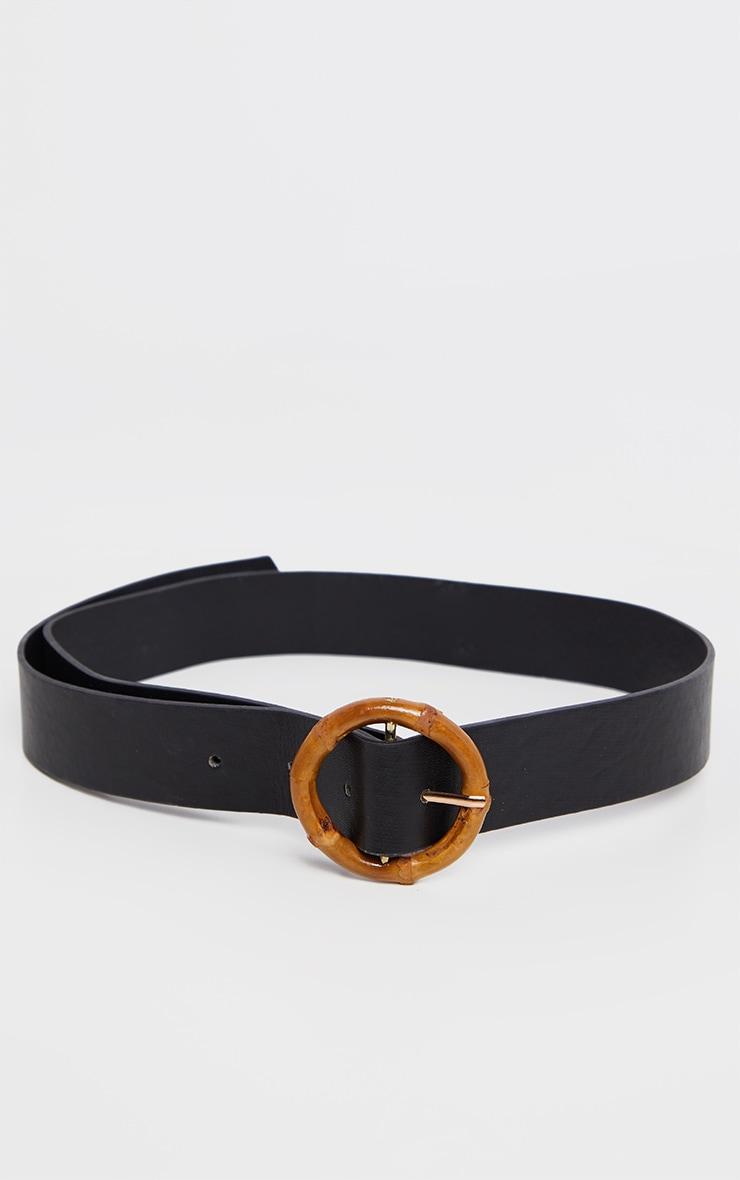 Black PU Thin Wooden Circle Buckle Belt 2