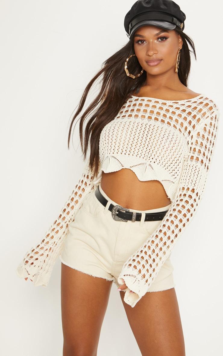 Cream Crochet Long Sleeve Top  1