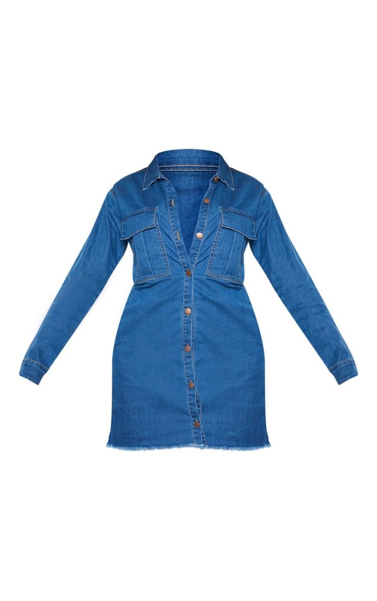 Tall Mid Wash Button Front Denim Shirt Dress 3