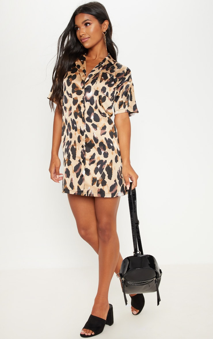 Leopard Print Short Sleeve Shirt Dress 4