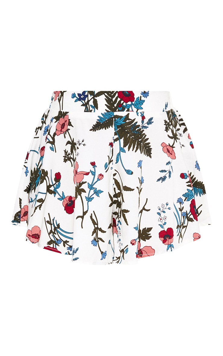 White Floral Floaty Shorts 3