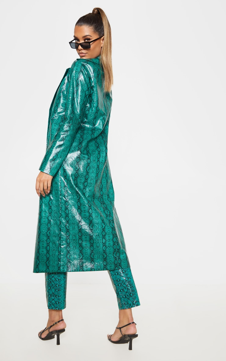 Emerald Green Snake PU Trench 2