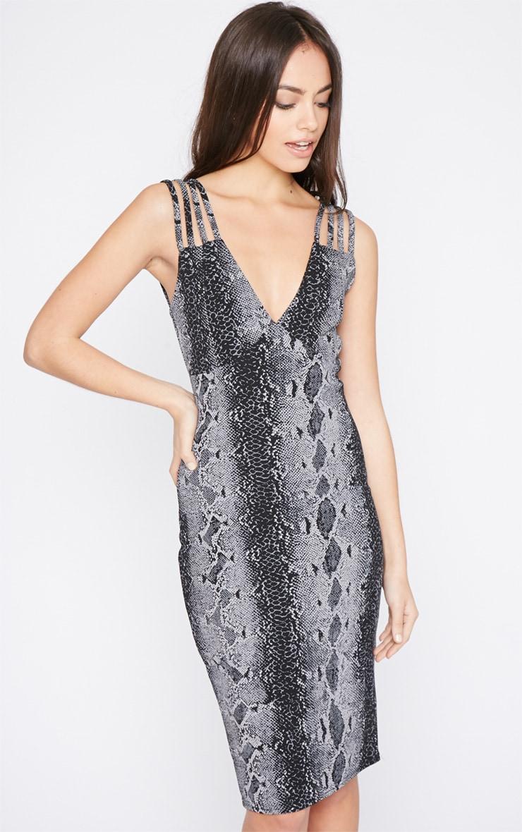 Candis Charcoal Snake Print Midi Dress 4