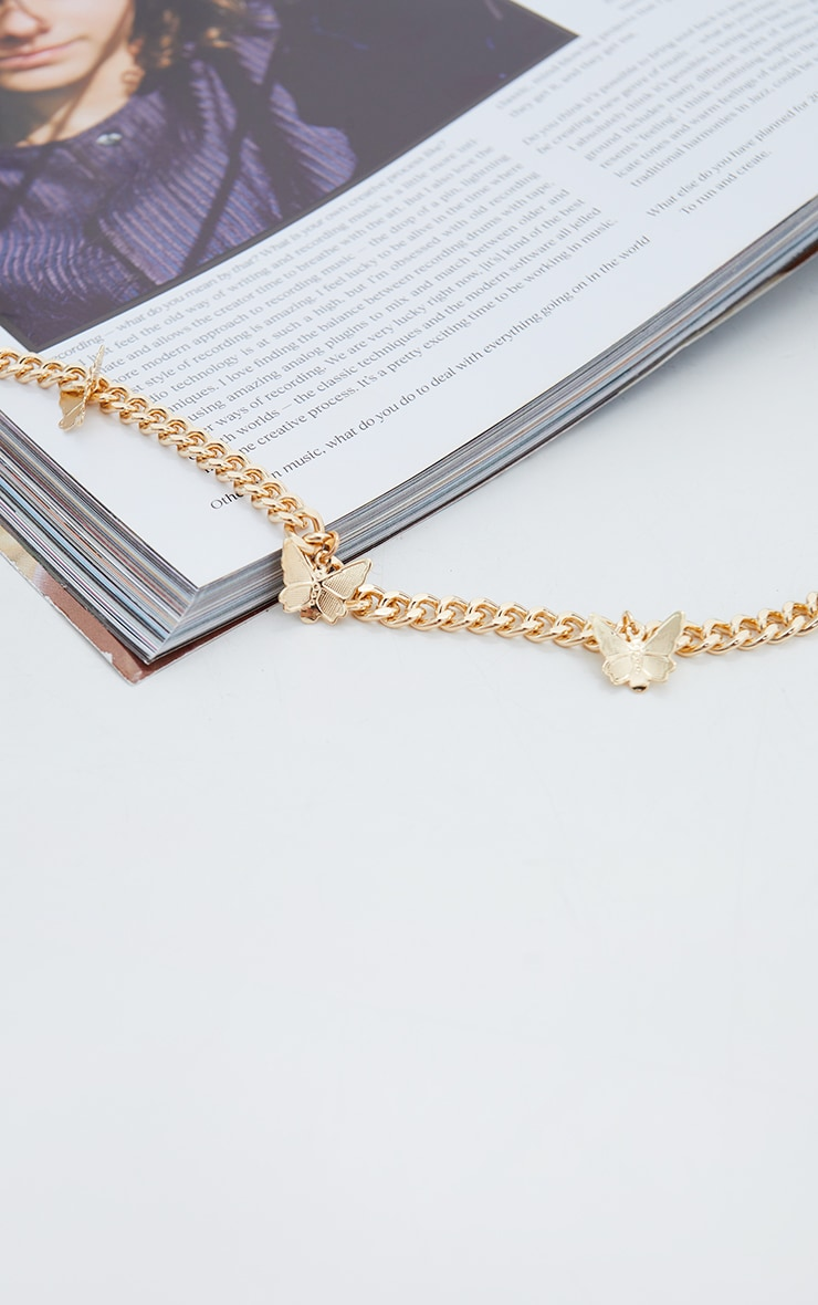 Gold Dainty Chain Multi Butterfly Necklace 4