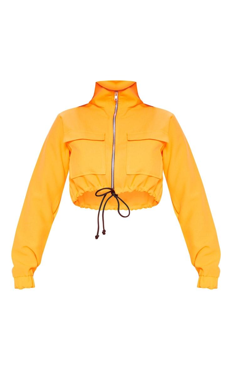Shape Neon Orange Utility Zip Front Crop Top 3
