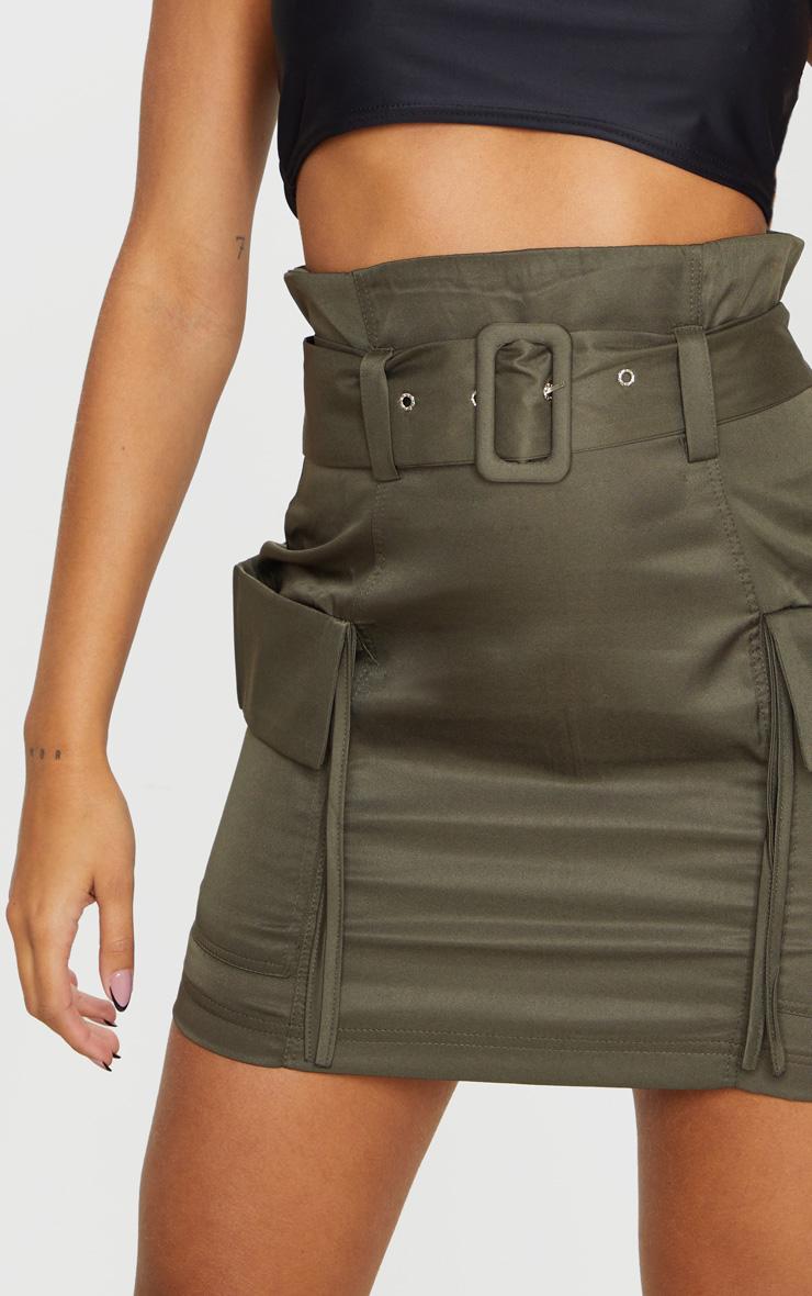 Mini-jupe ceinturée kaki à poches style cargo 5