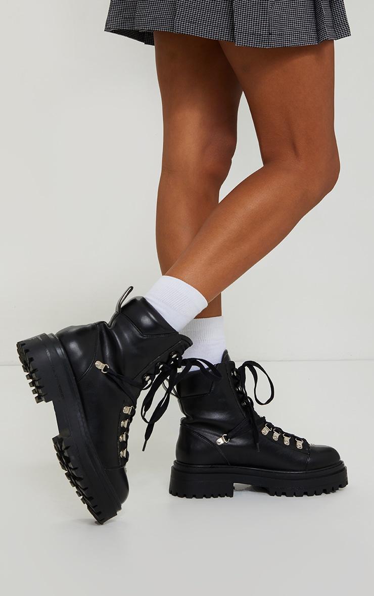 Black Pu Lace Up Chunky Hiker Boot 1