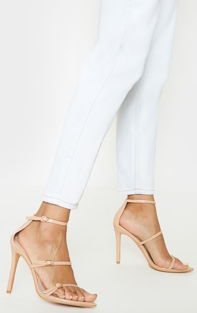 Nude Triple Strap Point Toe Sandal