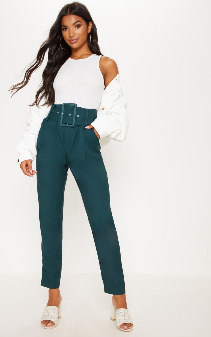 Emerald Green Super High Waisted Belted Tapered Trouser 1