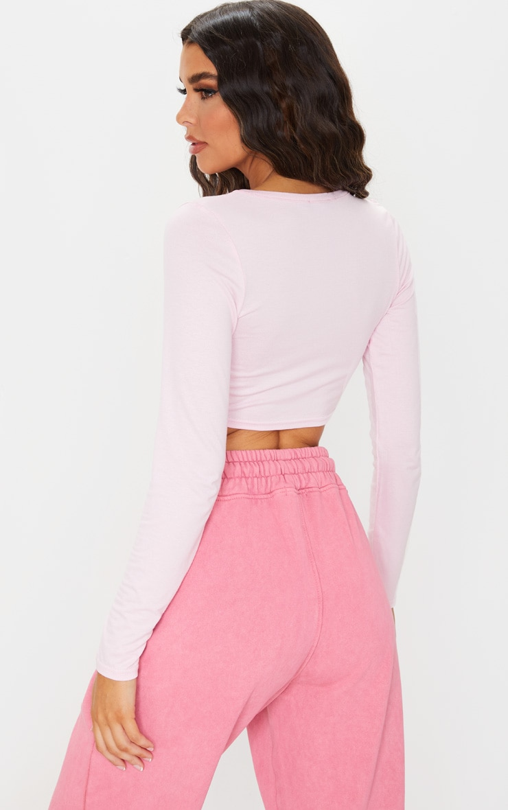 Pink Jersey Knot Front Long Sleeve Crop Top 2