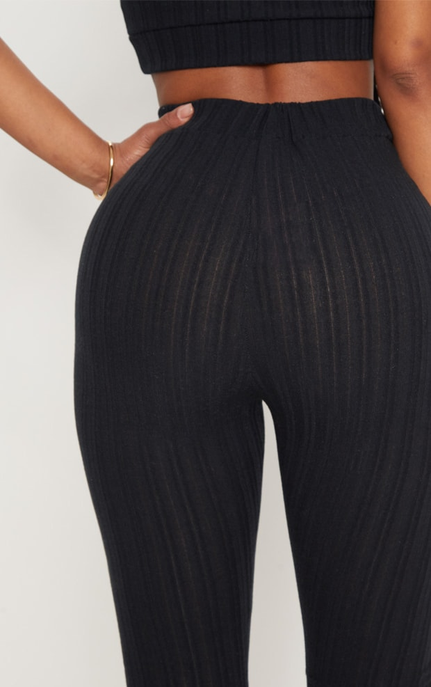 Shape Black High Waist Ribbed Leggings 5