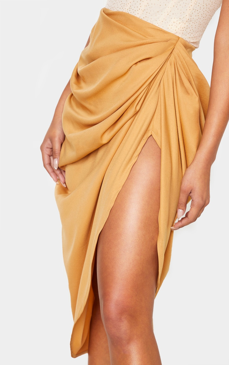 Camel Ruched Side Midi Skirt 6