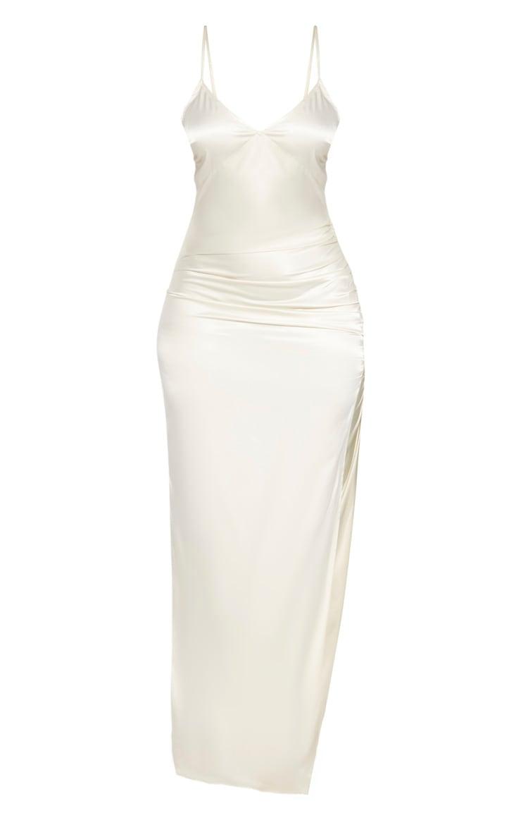 Cream Strappy Satin Ruched Split Leg Maxi Dress 3