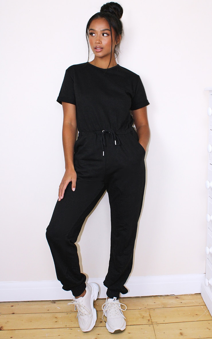 Petite Black Sleeve Sweat Jumpsuit 1