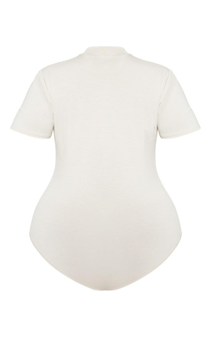 Plus Stone Roll Neck Short Sleeve Bodysuit  4