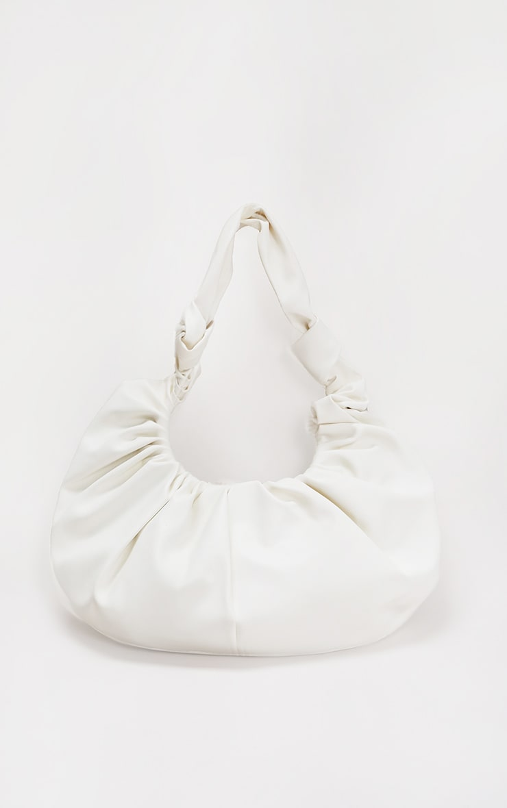 White Large Ruched Shoulder Bag 2