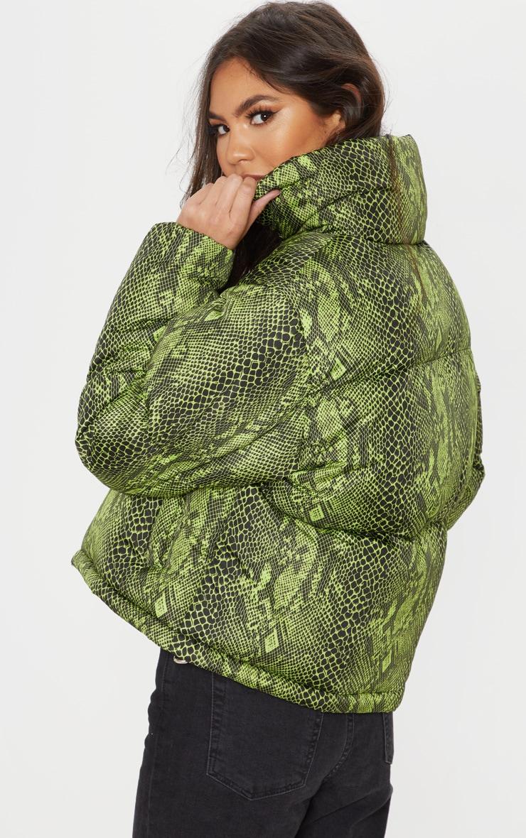 Neon Green Lime Snake Print Puffer 2
