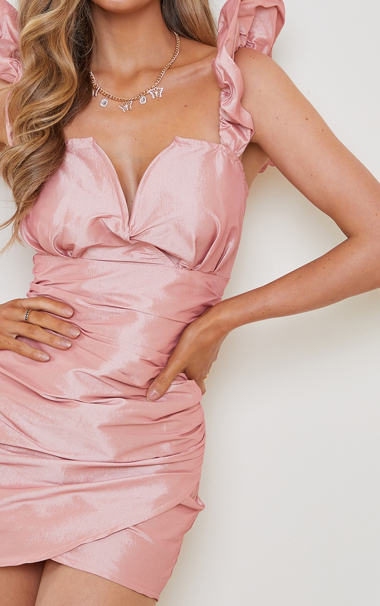 Pink Woven Ruched Puff Shoulder V Plunge Bodycon Dress 4