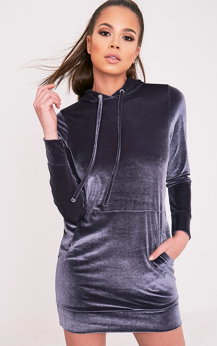 Harmanie Ice Grey Velvet Hooded Dress 5