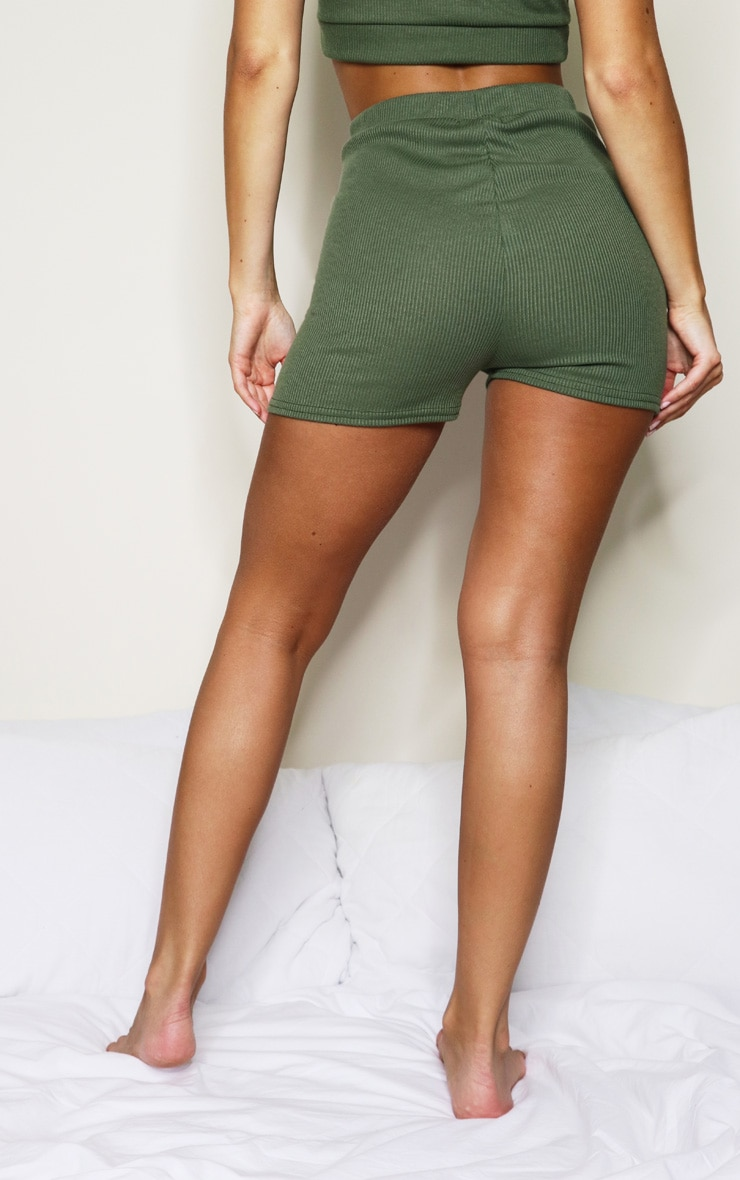 Khaki Soft Rib Mini Lingerie Short 3