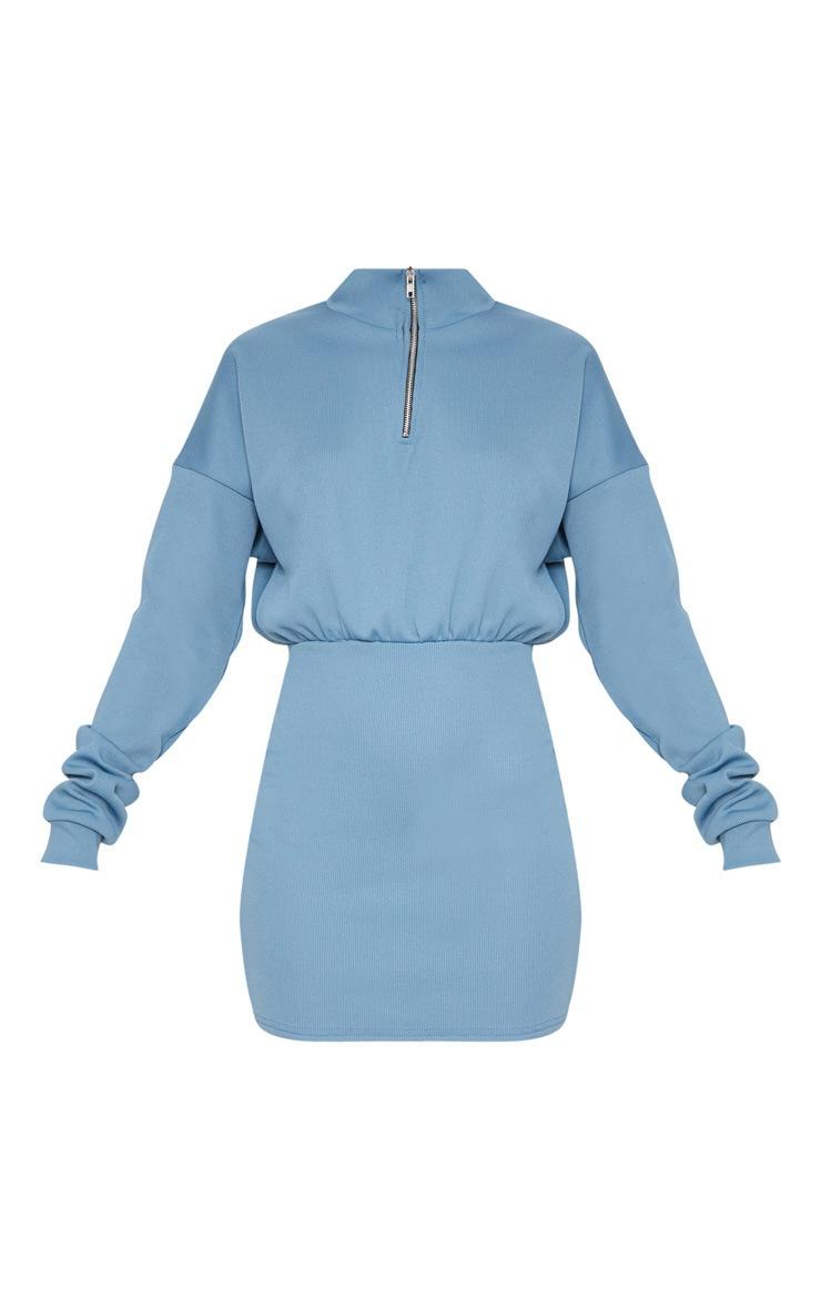 Blue Rib Zip Front Bodycon Jumper Dress 3